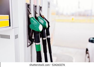 Gasoline and diesel distributor at the gas station