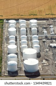 A gasoline and diesel fuel storage tank farm at the termination point of an underground fuel pipeline.