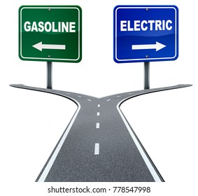 Gasoline and electric energy industry choice concept on a crossroad between old gas fuel power or alternative battery power direction decision on white as a 3D illustration.