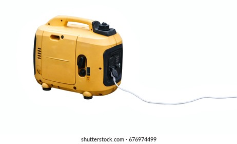 Gasoline generator. The portable apparatus. The generator of electric current. A powerhouse in the mobile version. Yellow body. Isolated on white background.