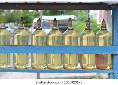 gasoline in a glass bottle retailed on the roadside