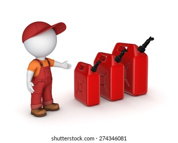 ?olorful gasoline jerrycans and 3d small person. Isolated on white background.