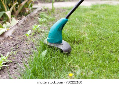 Gasoline lawn trimmer mows juicy green grass on a lawn on a sunny summer day. Garden equipment