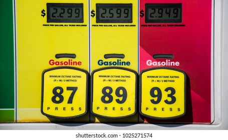 Gasoline Octane rating and high prices at the gas pump. Yellow buttons to choose your poison and unleaded or premium gasoline. Fossil fuels power our cars and transportation and cost is rising