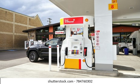 Gasoline pump stand. Shell. Banff City, Alberta, Canada. September 10, 2017