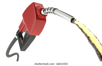 Gasoline Pump with stream of gas coming out of its nozzle isolated on white.