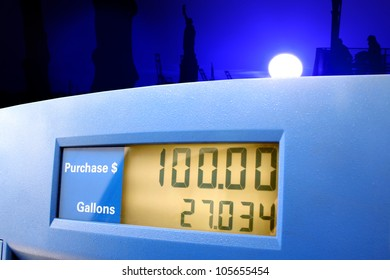 A gasoline station pump showing a sale of $100.00