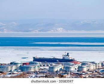 gasoline tanker at cargo petroleum port