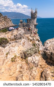 Gaspra, Crimea - July 7. 2019. Castle of Swallows Nest on the Cape Ai-Todor of Black Sea coast