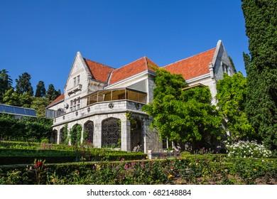 GASPRA, CRIMEA -  June 04, 2017: Villa Harax - a manor house with a park zone.