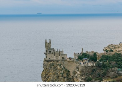 Gaspra, Crimea, Russia, January 2, 2019.Castle Swallow's Nest on a rock at Black Sea, Crimea, Russia. It is a symbol and tourist attraction of Crimea. Scenic panoramic view of the Crimea southern coas