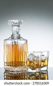 Gass and luxury bottle of liquor
