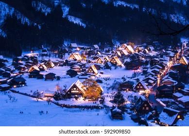 Gassho Zukuri Folk Village Shirakawago light-up in winter, Japan