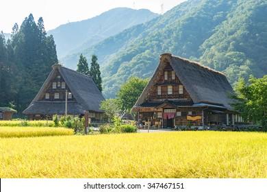 "Gassho Zukuri (Gassho-style) Houses in Suganuma area of Gokayama, Japan. Gokayama was registered as an UNESCO World Cultural Heritage site ""Historic Villages of Shirakawa-go and Gokayama"" in 1995."