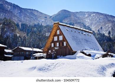 Gassho-zukuri Cottage at Ogimachi Village in Shirakawago, a UNESCO World Heritage Site