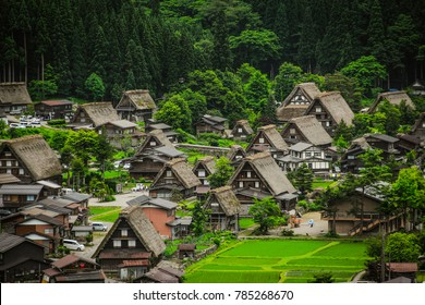 Gassho-zukuri houses in Gokayama Village. Gokayama has been inscribed on the UNESCO World Heritage List due to its traditional Gassho-zukuri houses, alongside nearby Shirakawa-go in Gifu Prefecture.