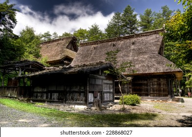 Gassho-zukuri style houses at Hida No Sato open air museum, Takayama, Japan