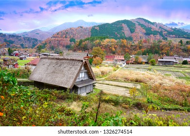 Gassho-zukuri Traditional and historical Japanese houses in Shirakawago in Autumn Season of Gifu prefecture, Japan.