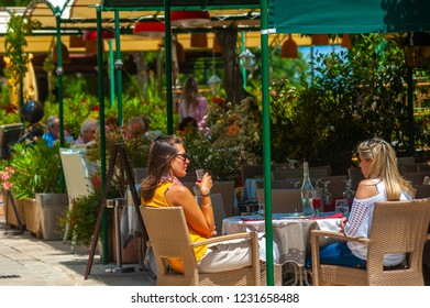 GASSIN, FRANCE - JUNE 06, 2013: Restaurant at the Place Dei Barri in Gassin in the Department Var of the province Provence-Alpes-Cote d´Azur