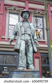 Gassy Jack statue - founder of Gastown Vancouver - VANCOUVER / CANADA - APRIL 12, 2017