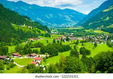 Gastein Valley opening north towards Bad Hof Gastein seen from Bad Gastein, Salzburg, Austria
