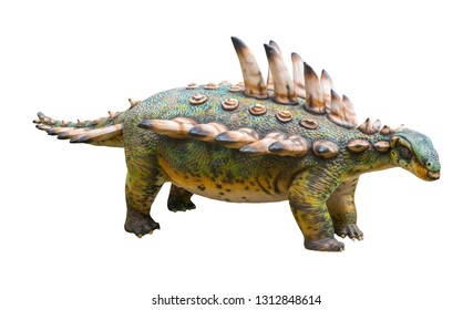 Gastonia is a genus of herbivorous Ankylosaurian dinosaur from the Cretaceous, Gastonia has a sacral shield and large shoulder spikes, isolated on white background with clipping path