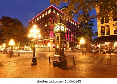Gastown and the historical steam clock in Vancouver, Canada