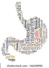 Gastric word cloud on stomach shape