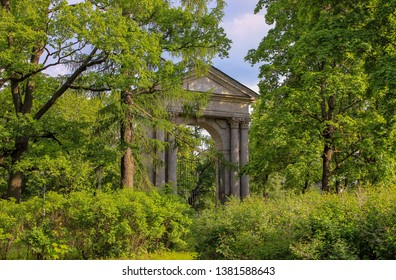 Gatchina, Russia. 08.06.12. The stone colonnade with a portico in the old Park