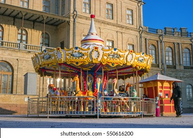 Gatchina, Russia - January 6, 2017: Gatchina Palace, New Year's Fair on the parade ground.