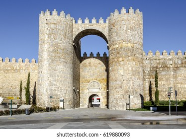 Gate of the Alcazar, one of the nine gates in the city walls of Avila, Spain