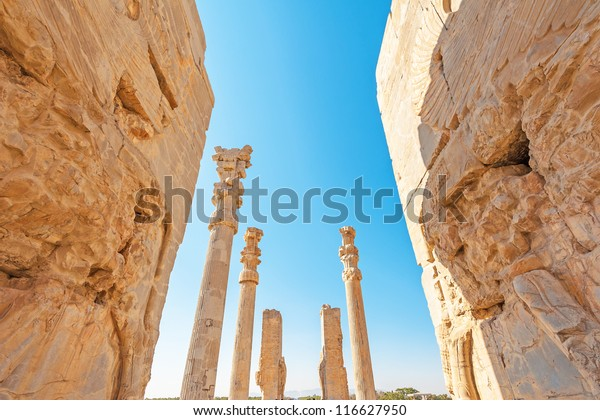 Gate of All Nations at Persepolis in north of Shiraz, Iran. Persepolis has led to its designation as a UNESCO World Heritage Site.