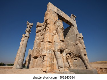 Gate of All Nations or Gate of Xerxes in the ruins of ancient Persepolis capital of Achaemenid Empire in Shiraz, Iran.