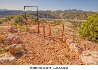 Gate to an area of the Verde River near Paulden Arizona called the Promised Land. This recreation area is open to the public. Gate is to prevent livestock from wandering down to the river.