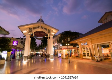 a Gate to the Asiatique Riverfront Nightmarket in the city of Bangkok in Thailand.  Thailand, Bangkok, November, 2017