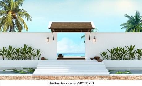 Gate to the beach local thai wall 3d rendering