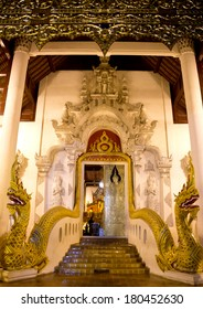 Gate of Buddhist temple with two Naga heads in Wat Jedi Luang at Chiang mai