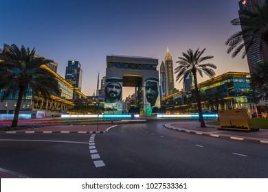The Gate building at the Dubai International Financial Centre. Dubai, UAE - January, 2018.