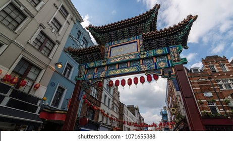 "The Gate in chinatown, london, England. The Chinese text translates ""Peace and Prosperity to Chinatown"""