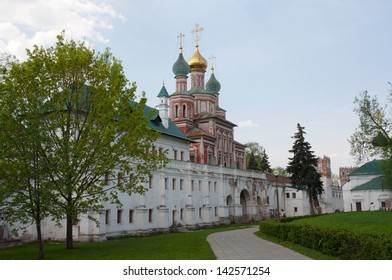 The Gate church of the Intercession of Novodevichiy Convent in sunny day at summer in Moscow, Russia