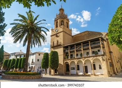 Gate of  Church of Santa Maria de La Major in historic center of Ronda (Andalusia-Spain)
