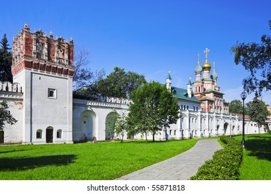 The Gate Church and the wall of the Novodevichy Convent. Moscow. Russia.