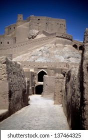 Gate of the citadel, towers, medieval city and fortress,Bam, Iran, Middle East