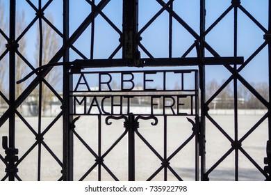 Gate to Dachau concentration camp, Munich, Germany