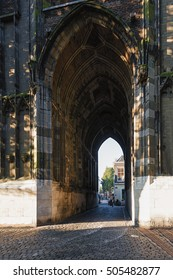 The Gate of the Dom Tower in the old town of Utrecht.