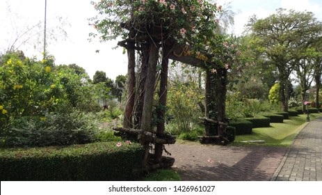 The gate to enter american garden in Nusantara flower garden in west java indonesia. this place always full with people every weekend