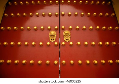 """Gate of the Forbidden City in Beijing. The big """"gold buttons"""" are doornails."""