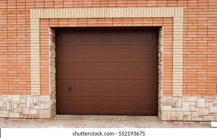The gate of the garage. Place for text.