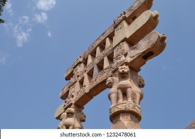 Gate of the Great Stupa (Stupa No1) at Sanchi, Bhopal, Madhya Pradesh. It is the oldest structure originally commissioned by the emperor Ashoka the Great of the Maurya Empire in the 3rd century BC