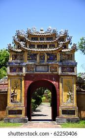 Gate in the Hue Citadel in Vietnam